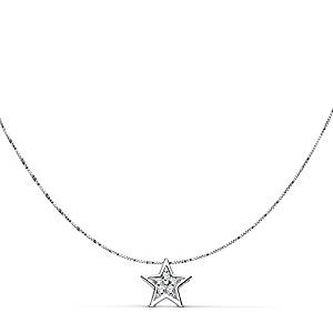Gargantilla de estrella en oro blanco