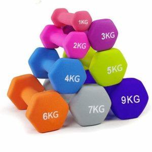 Kit de mancuernas para hacer fitness en casa con recubrimiento de PVC