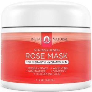 Máscara facial de acción inmediata con extracto de rosa