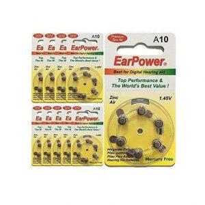 Pilas para aparato auditivo tamaño 10 de EarPower