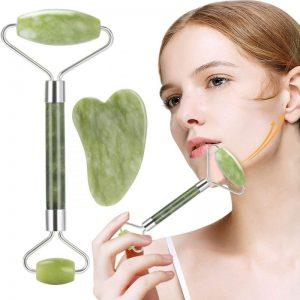 Rodillo facial de jade con doble cabezal